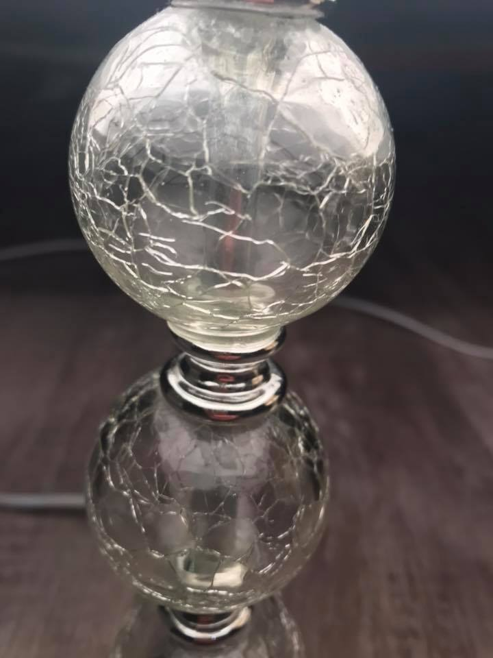 Glass table lamp. With bulb.