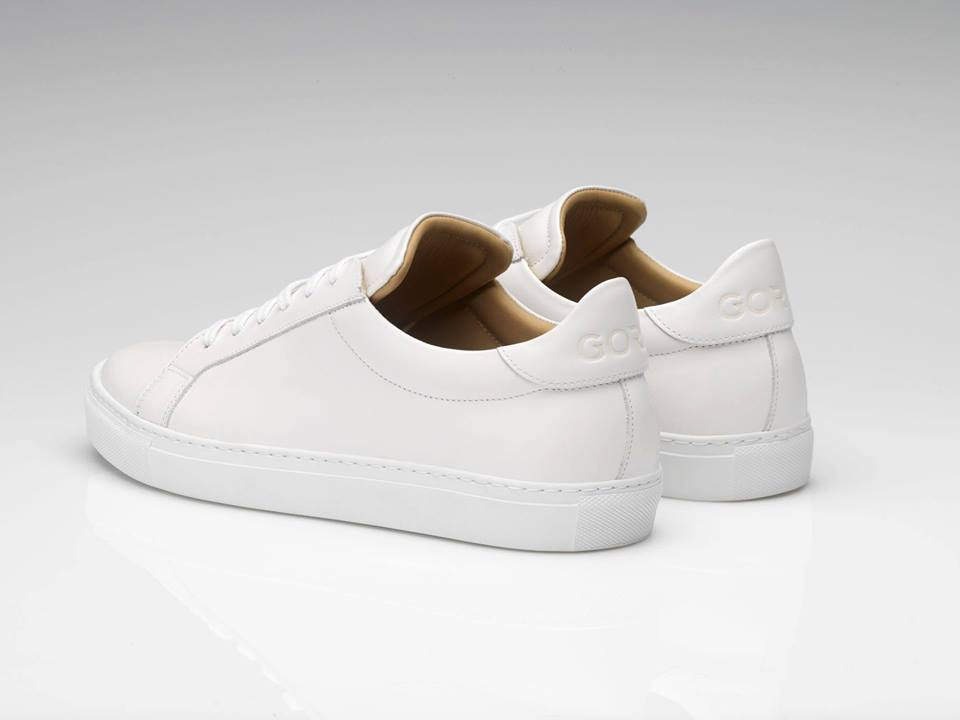 Mens Goral Handcrafted White Leather Trainers/Snea